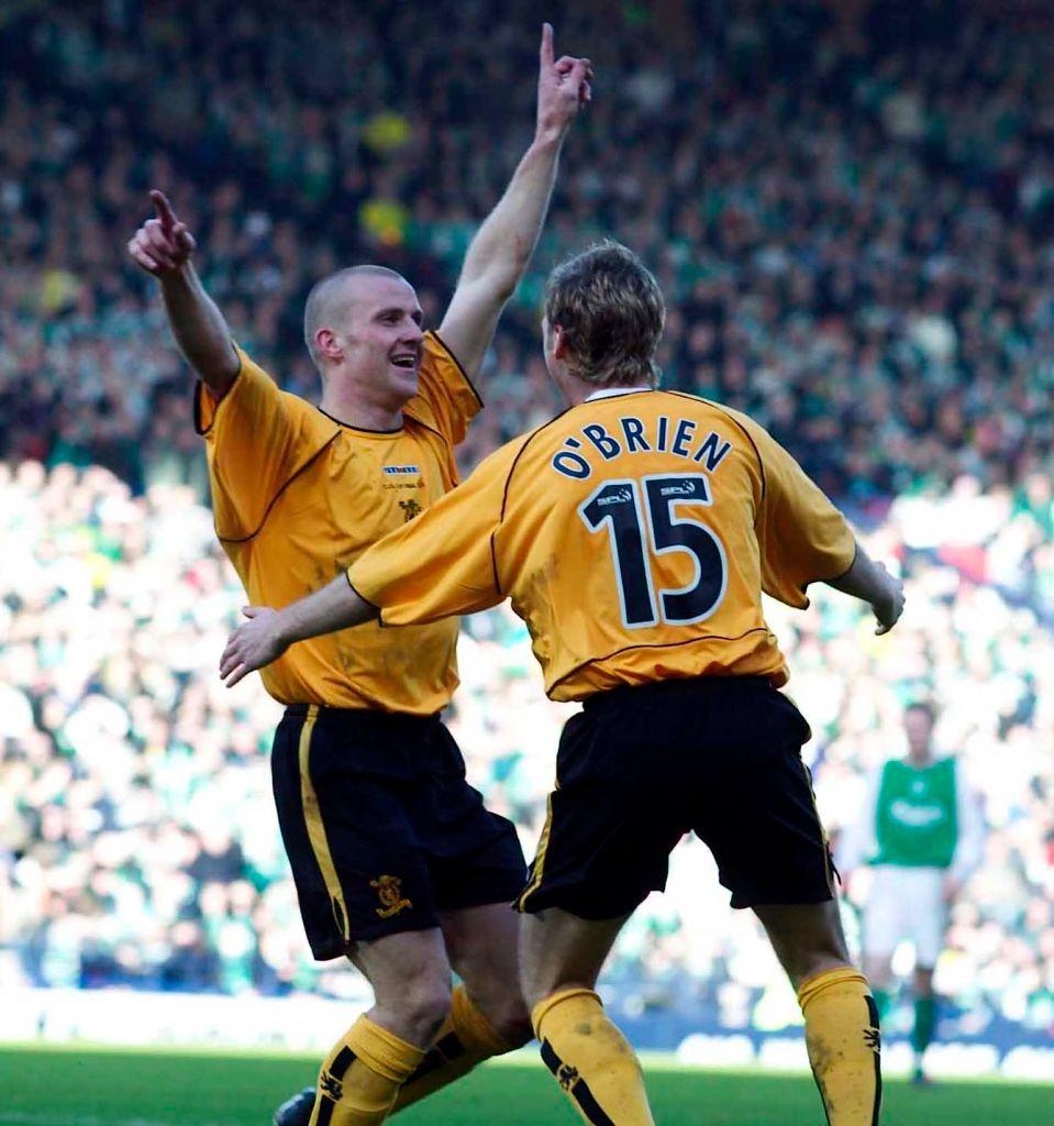 14/03/04 Cis Cup Final 2004.Hibs V Livingston.Hampden - Glasgow.Derek Lilley (Left) Celebrates With Burton O'Brien After Opening The Scoring For Livingston.