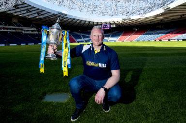 10/04/17 .HAMPDEN - GLASGOW.Former Hibernian goalkeeper Conrad Logan looks ahead to the William Hill Scottish Cup semi-final tie between Hibernian and Aberdeen.