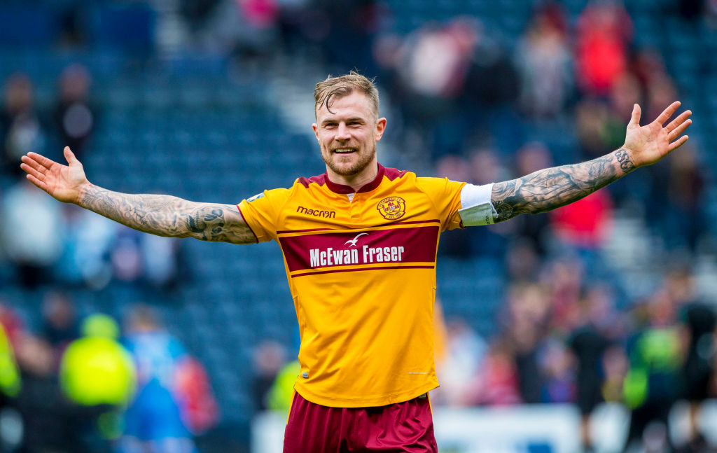 14/04/18 WILLIAM HILL SCOTTISH CUP SEMI-FINAL.MOTHERWELL v ABERDEEN.HAMPDEN PARK - GLASGOW .Motherwell's Richard Tait at full-time.