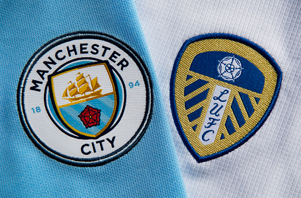 The Manchester City and Leeds United Club Badges...