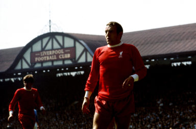 English League Division One match at Anfield. Liverpool 2 v Manchester City 1. Liverpool's Ian St. John. 10th August 196