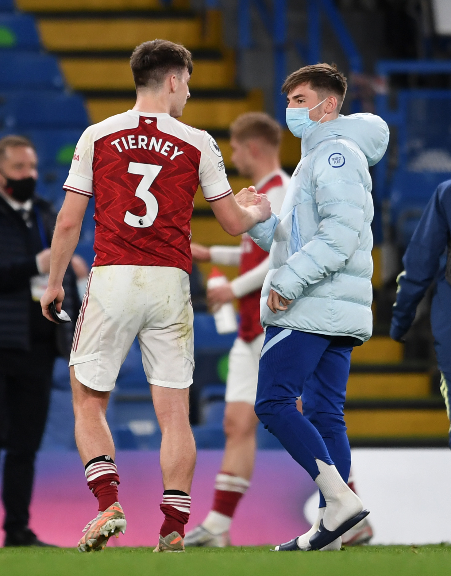 Billy Gilmour faced Scotland star Tierney with Chelsea.