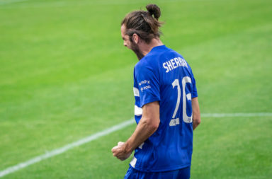 Cillian Sheridan of Wisla Plock celebrates a goal during the