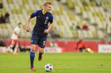 Juhani Ojala of Finland seen in action during a football